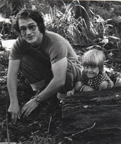 Corinne and her dad looking for scorpions (as one does)