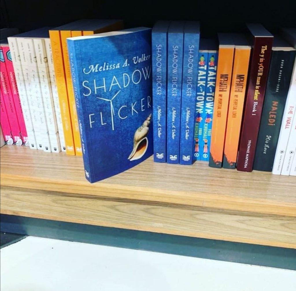 Missy's Shadow Flicker on her bookshelf