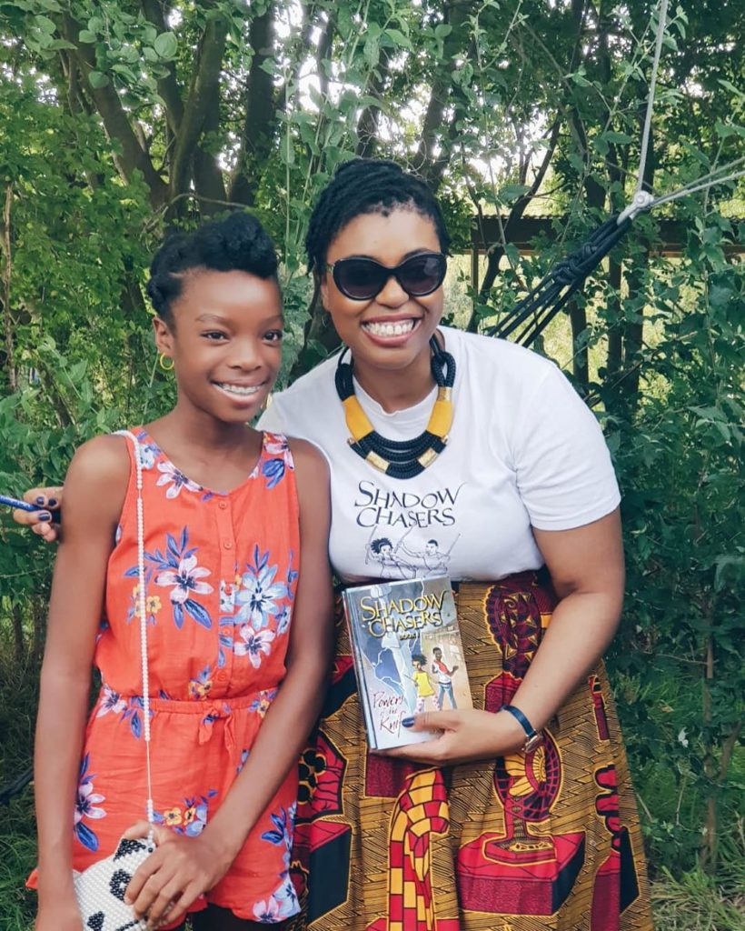 Bontle Senne and a fan at a book event at Nirox Sculpture Park in 2019