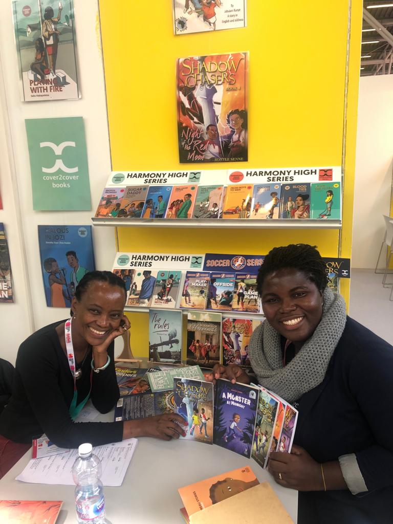 My publishers Palesa Morudu from Cover2Cover and Deborah Osei Ahenkorah from African Bureau Stories chilling at Frankfurt Book Fair