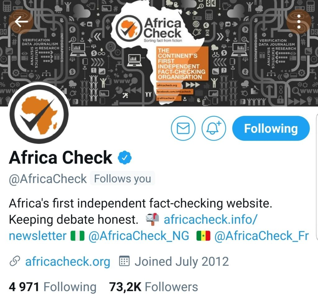 Don't be sorry. Africa Check Twitter